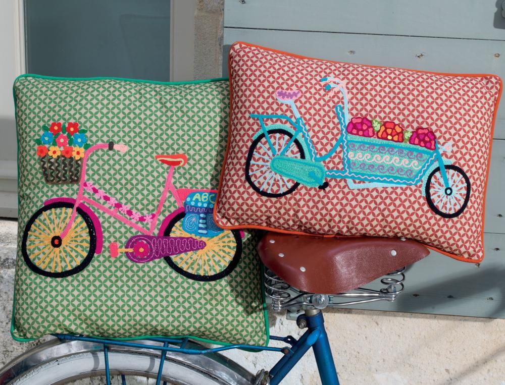 Balade À vélo - coussin carré
