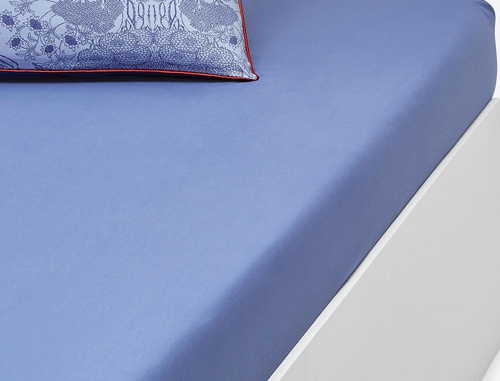 Drap housse uni bleu porcelaine bonnet 30 cm linvosges for Drap housse bonnet 30 cm
