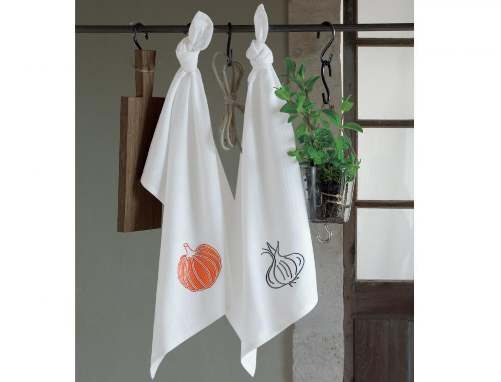 Atelier Cuisine essuie-Mains - 2 essuie-mains ail/pois