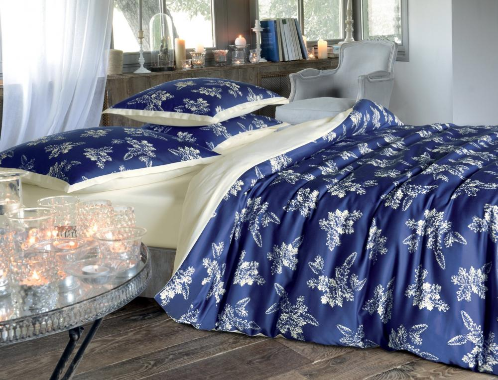 housse de couette 1 ou 2 personnes bleu de minuit linvosges. Black Bedroom Furniture Sets. Home Design Ideas