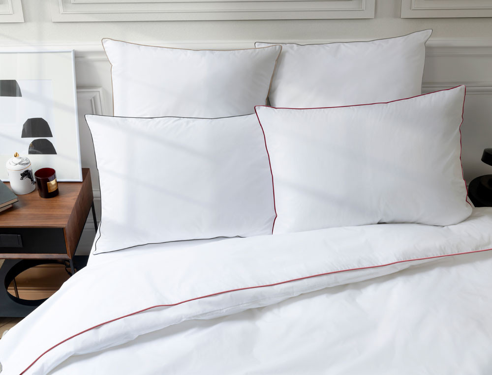 Linge de lit percale prestige finition bourdon et finition passepoil Grand Hôtel